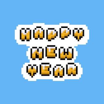 Pixel art cartoon felice anno nuovo testo design.