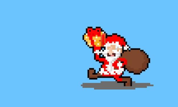 Carattere di babbo natale felice del fumetto di arte del pixel che tiene il contenitore di regalo giallo.