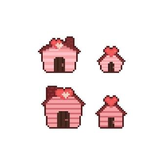 Pixel art cartoon house of love icona deisgn set.