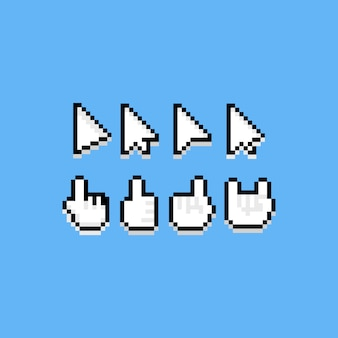 Insieme del cursore dell'icona del fumetto di arte del pixel.