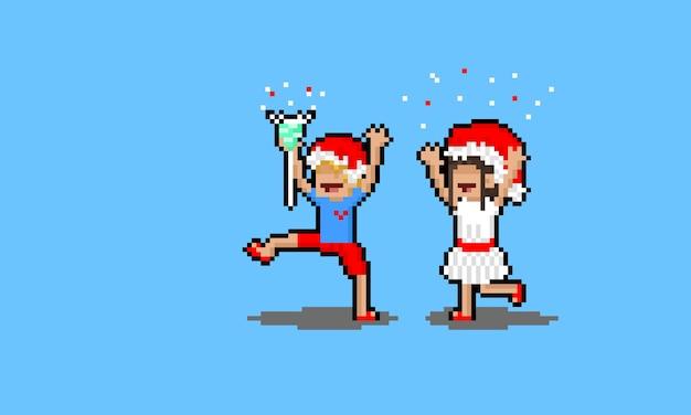 Carattere della gente del fumetto di arte del pixel che fa festeggiare