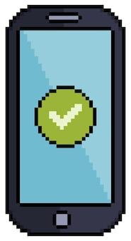 Cellulare pixel art con icona a forma di spunta per il gioco a 8 bit su sfondo bianco