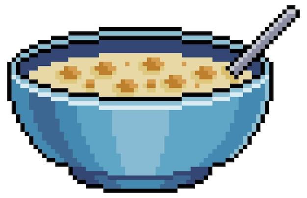 Pixel art cereale in una ciotola bit elemento di gioco su sfondo bianco