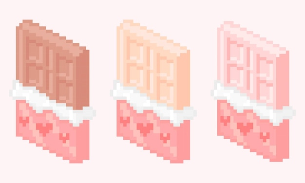 Pixel art di tavoletta di cioccolato con tanti gusti