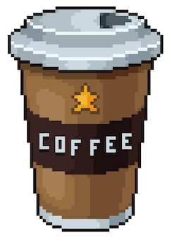 Pixel art coffee cup bit game icon