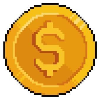 Pixel art moneta denaro dolar icona per gioco a 8 bit su sfondo bianco