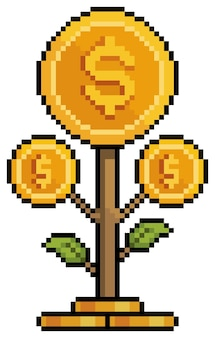 Pixel art coin plant investimenti e finanze icona del gioco a 8 bit su sfondo bianco