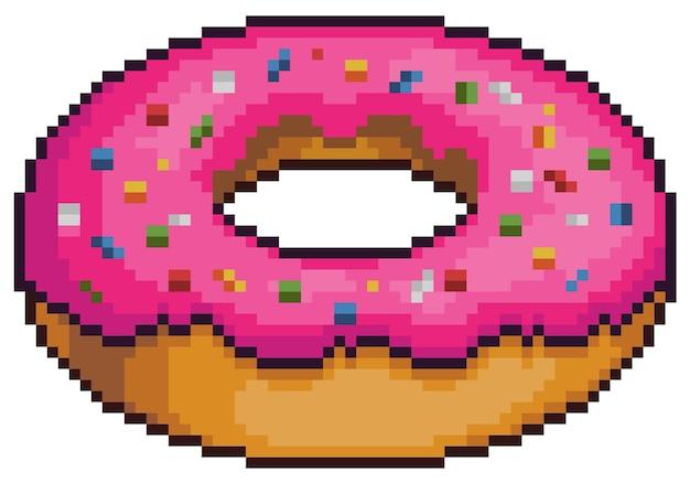 Ciambella di pixel art con elemento di gioco bit di glassa rosa su sfondo bianco