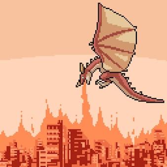Pixel art della città in fiamme del drago