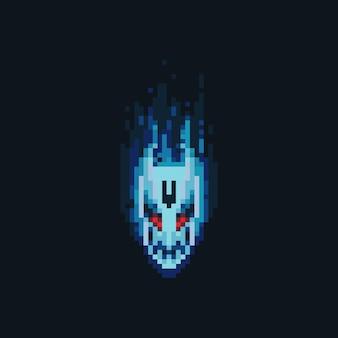 Icona della testa del diavolo del fuoco di pixel art