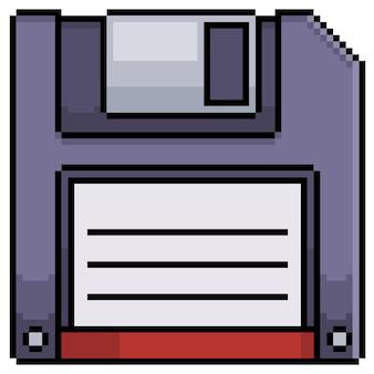 Icona del disco floppy pixel art per il gioco a 8 bit su sfondo bianco