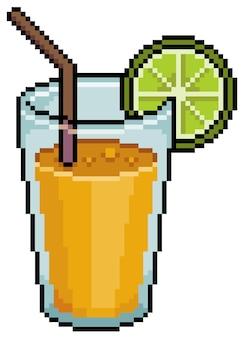 Pixel art succo di frutta con oggetto di gioco limone e paglia
