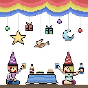 Pixel art di una divertente festa di coppia
