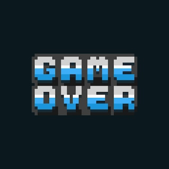 Pixel art game over icon text design