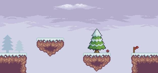 Scena di gioco pixel art nella neve con piattaforma galleggiante pini nuvole e 8 bit