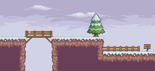 Scena di gioco di pixel art nella neve con nuvole di recinzione del ponte di alberi di pino e sfondo a 8 bit