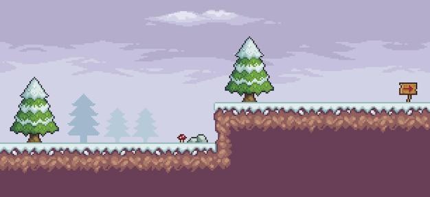 Scena di gioco pixel art nella neve con tavola indicativa nuvole di alberi di pino 8bit
