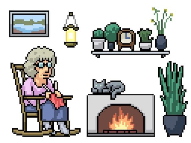 Pixel art della nonna che lavora a maglia rilassarsi