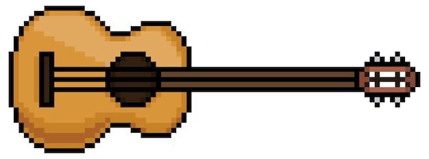 Elemento di strumento musicale chitarra pixel art per bit di gioco su sfondo bianco