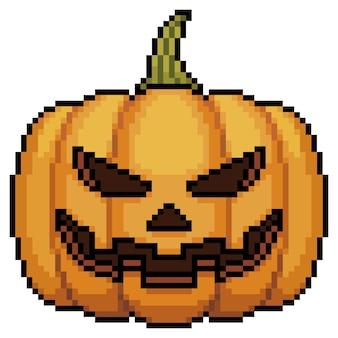 Icona della zucca di halloween di pixel art per il gioco a 8 bit su sfondo bianco