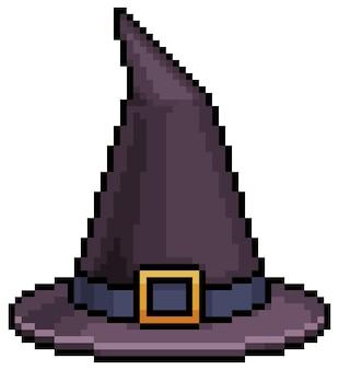 Pixel art halloween strega cappello icona per il gioco a 8 bit su sfondo bianco