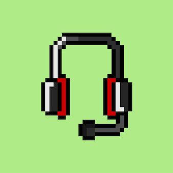 Pixel art di cuffie con microfono