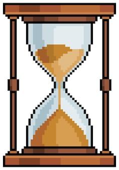 Orologio con sabbia a clessidra pixel art. oggetto per bit di gioco