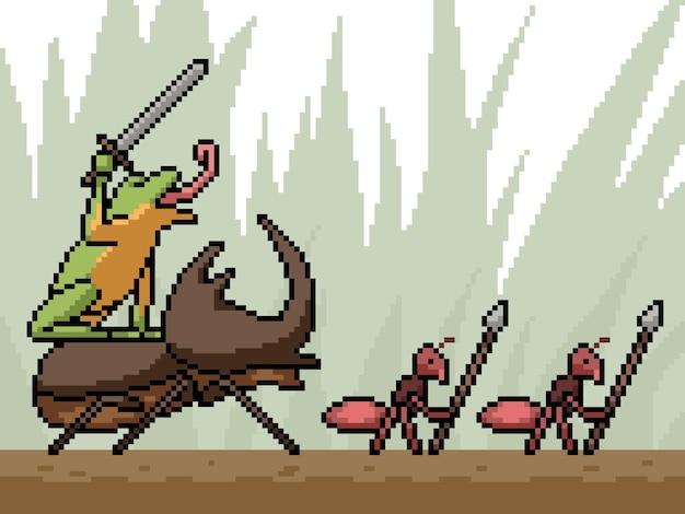 Pixel art della squadra di battaglia degli insetti
