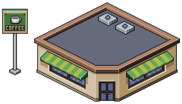 Caffetteria isometrica pixel art, edificio in città per bit di gioco