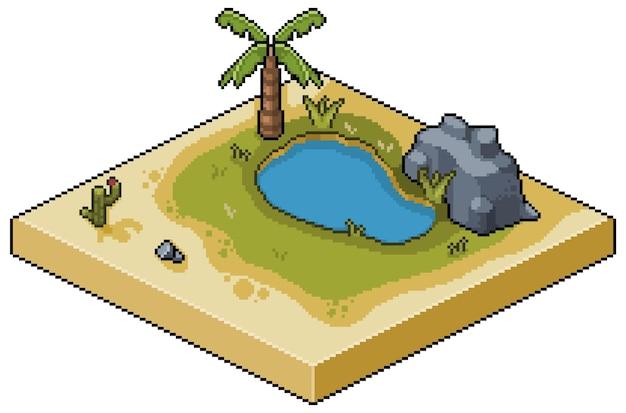 Deserto di oasi isometrica pixel art con scenario di gioco di lago, erba, palma, cactus e pietre