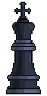 Pixel art king pezzo degli scacchi per il gioco a 8 bit su sfondo bianco Vettore Premium