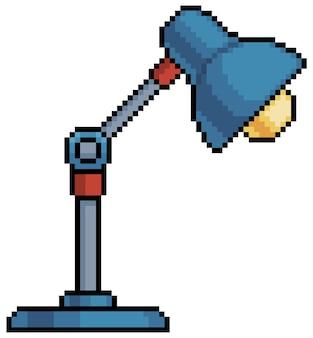Elemento di lampada da tavolo pixel art paralume per bit di gioco su sfondo bianco