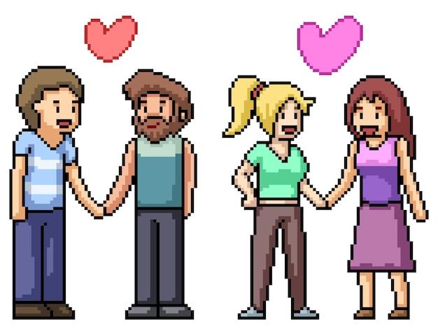 Pixel art di coppia gay lesbica isolata su bianco