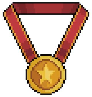 Icona della medaglia pixel art per il gioco a 8 bit su sfondo bianco