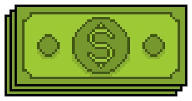 Pixel art denaro note icona di investimento e finanza per il gioco a 8 bit su sfondo bianco