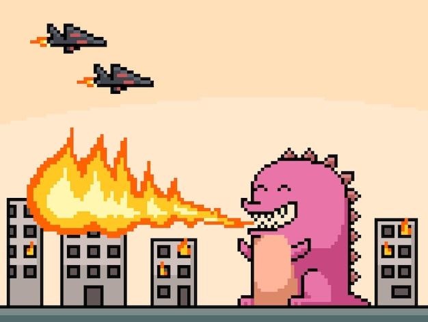 Pixel art della città in fiamme dei mostri