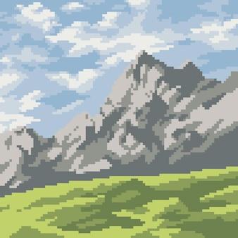 Pixel art del paesaggio montano naturale