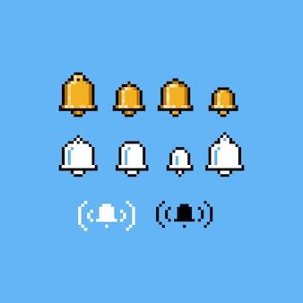Insieme dell'icona della campana di notifica di arte del pixel.
