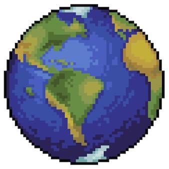 Pixel art pianeta terra per gioco di bit su sfondo bianco