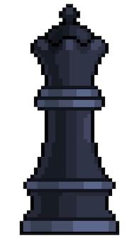 Pezzo degli scacchi della regina pixel art per il gioco a 8 bit su sfondo bianco