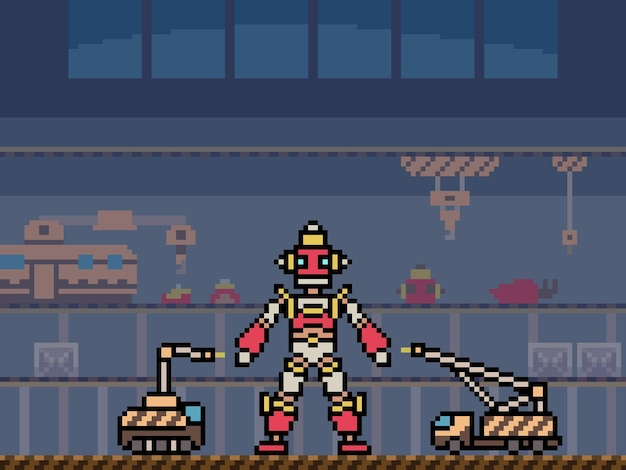 Pixel art della fabbrica di costruzione di robot