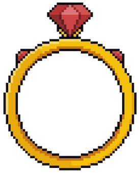 Anello rubino pixel art per gioco a 8 bit su sfondo bianco