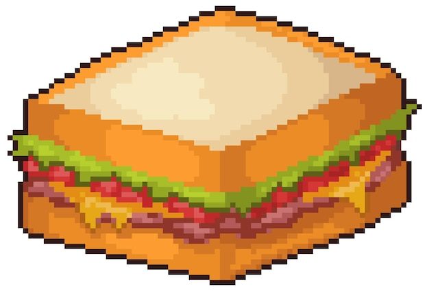 Pixel art sandwich snack fast food icon set bit