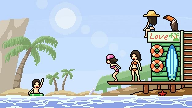 Festa in spiaggia di pixel art scene