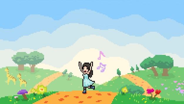 Ragazza felice della scena di arte del pixel