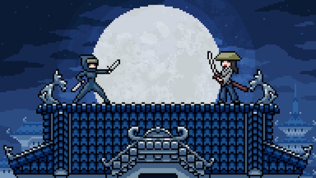 Pixel art scene ninja samurai classic fight