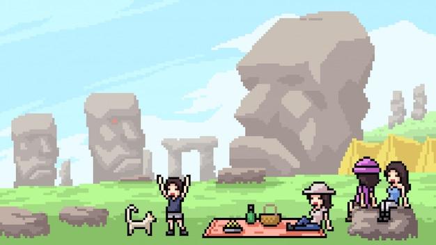 Punto di riferimento della testa di pietra della scena di arte del pixel
