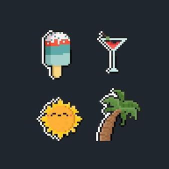 Insieme di arte del pixel dell'icona di estate del fumetto