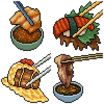 Pixel art set isolato cibo bacchette asiatiche