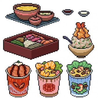 Pixel art set isolato fast food asiatico